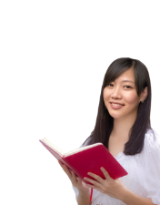 an Asian female student holding a red book
